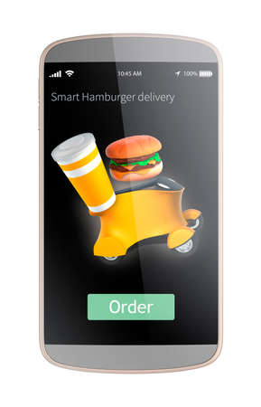 automaton: Smart phone apps interface for order hamburger and delivery by robot car. 3D rendering image with clipping path. Original design.