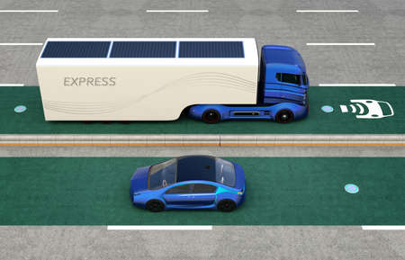 inductive: Hybrid truck and blue electric car on wireless charging lane. Electric vehicle wireless charging concept. 3D rendering image.