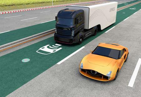 Hybrid truck on wireless charging lane. 3D rendering image.