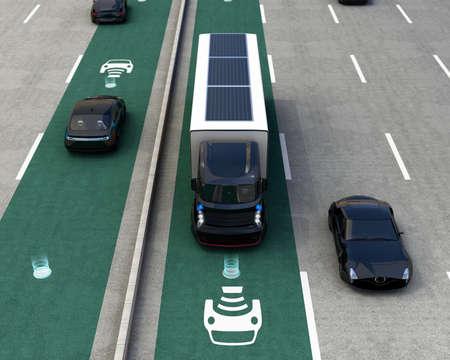 Hybride vrachtwagen en blauwe elektrische auto op draadloos opladen lane. 3D-rendering afbeelding. Stockfoto