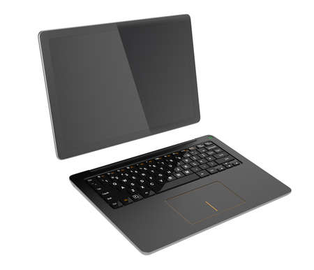 detachable: Black detachable PC separated into tablet and keyboard. 3D rendering image with clipping path. Stock Photo