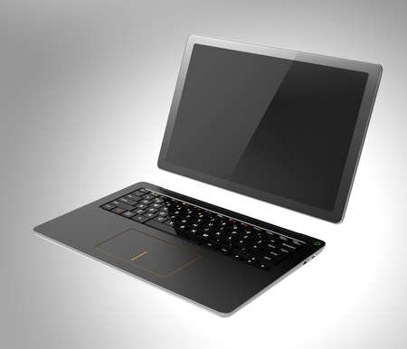 Detachable PC in tablet and keyboard mode. 3D rendering image with clipping path. Stock Photo