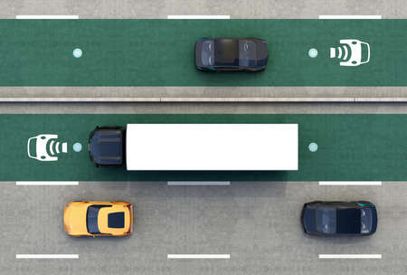 Aerial view of hybrid truck and blue electric car on wireless charging lane. 3D rendering image.