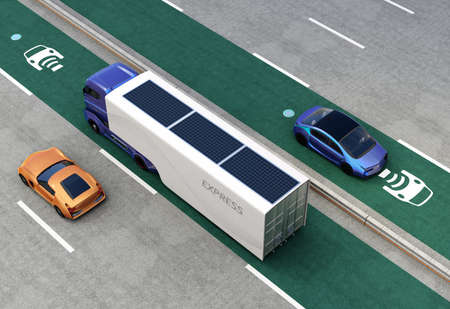 recharging: Hybrid truck and blue electric car on wireless charging lane. 3D rendering image.