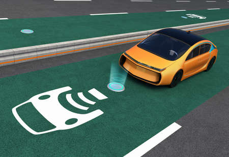 recharging: Yellow electric car on EV wireless charging lane. The in-road wireless charging coil have graphic to show charging progress. 3D rendering image.