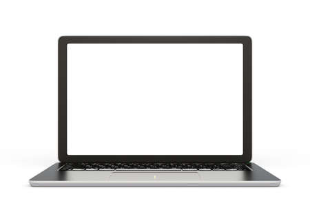 laptop computer: Front view of laptop computer with blank screen. 3D rendering image with clipping path. Stock Photo