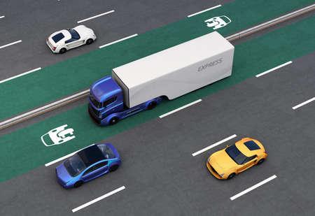 EV 우선 차선의 하이브리드 트럭. 고속도로에서 EV 우선 트래픽에 대한 개념. 3D 렌더링 이미지입니다.
