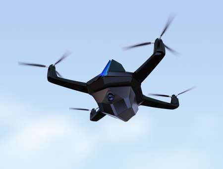 supersonic: Surveillance drone flying in the sky. 3D rendering image Stock Photo