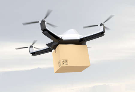 Autonomous unmanned drone delivering cardboard box in the sky. 3D rendering image.