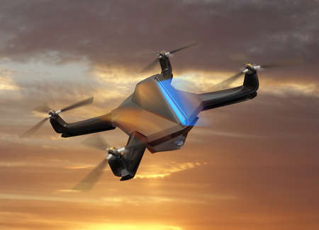 supersonic plane: Autonomous unmanned drone with surveillance camera flying in sunset sky.   Original  design.
