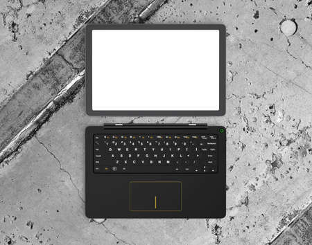 pc: Top view of a detachable PC with blank screen for copy space. 3D rendering image. Stock Photo