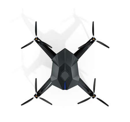 監視無人機は白い背景で隔離の平面図です。3 D レンダリング画像 写真素材