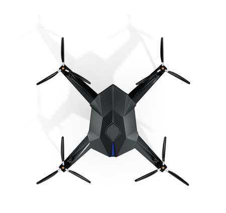 supersonic plane: Top view of surveillance drone isolated on white background. 3D rendering image with