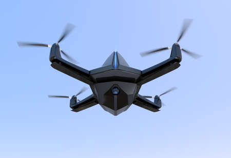 unmanned: Surveillance drone flying in the sky. 3D rendering image Stock Photo