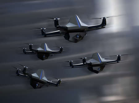 Surveillance drones fleet flying in the sky. Sonar-powered autonomous unmanned aircraft.