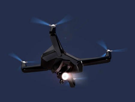 stealth: Stealth drone equip with search light flying in the night sky. 3D rendering image.