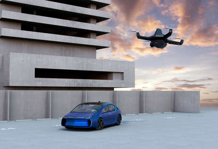 stealth: Stealth drone flying in the sunset sky. 3D rendering image