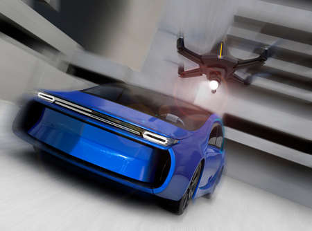 stealth: Stealth drone chasing car for security concept. 3D rendering image