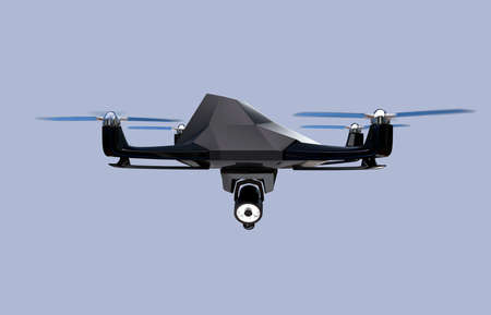stealth: Stealth drone equip with search light flying in the sky. 3D rendering image. Stock Photo
