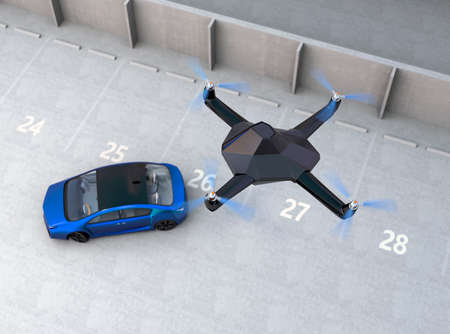 supersonic plane: Stealth drone tracking a car for security concept. 3D rendering image