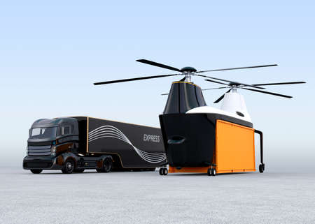 Cargo drone and hybrid truck on the ground. 3D rendering image