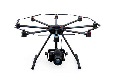 cinematic: Front view of octocopter isolated on white background. 3D rendering image with clipping path.