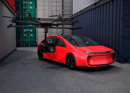 stabilizers: Octocopter with movie camera for shooting film around yellow car. 3D rendering image.
