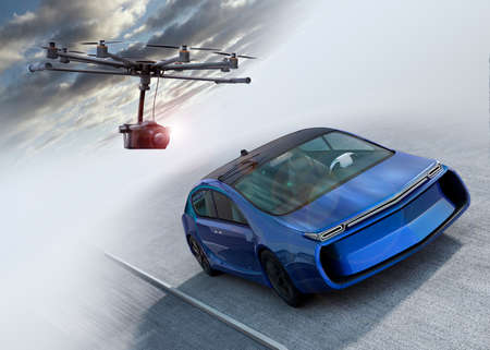 film shooting: Octocopter following a car for shooting film. 3D rendering image.