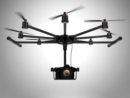 stabilizers: Octocopter carrying DSLR camera isolated on gray background. 3D rendering image.