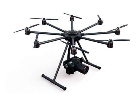 video camera: Octocopter with DSLR camera isolated on white background. 3D rendering image with clipping path. Stock Photo