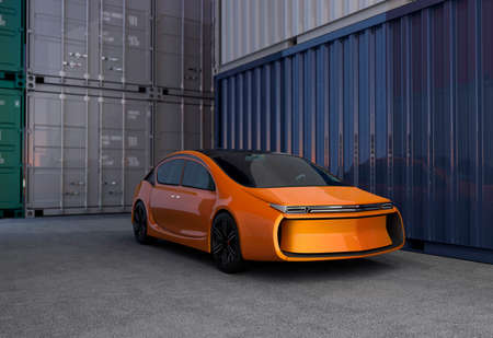 stabilizers: Orange car in cargo containers yard. 3D rendering image.