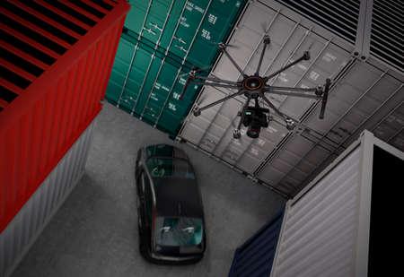 Octocopter avec caméra vidéo pour le tournage du film. Rendu 3D image.