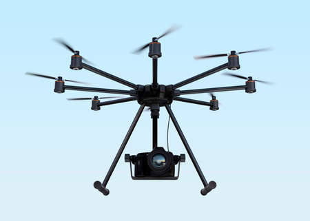 cinematic: Octocopter with DSLR camera flying in the sky. 3D rendering image.