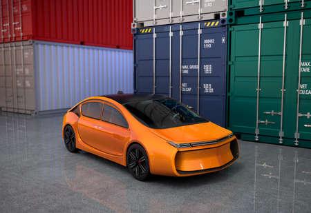 貨物コンテナー ヤードでオレンジ色の車。3 D レンダリング イメージ。