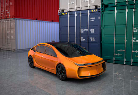 yard: Orange car in cargo containers yard. 3D rendering image.