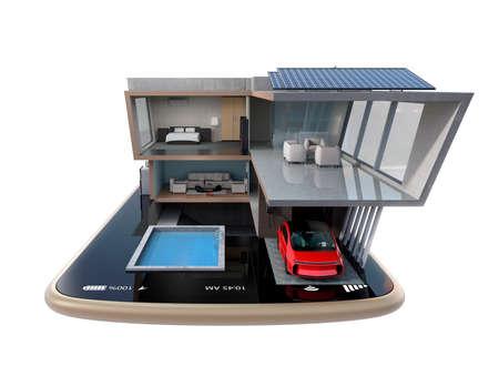 에너지 효율적인 집의 전면 뷰 스마트 폰에 태양 전지 패널, 에너지 절약 기기를 장착. 자동화 홈은 스마트 폰 개념에 의해 제어. 3D 렌더링 이미지 스톡 콘텐츠