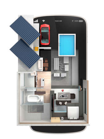 エネルギー効率の高い住宅ソーラー パネル搭載スマート フォンで家電を省エネの平面図です。 スマート フォンのコンセプトによって制御するオー 写真素材