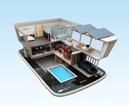 Passiefhuis uitgerust met zonnepanelen, energiezuinige toestellen op een slimme telefoon. automatisering naar huis gestuurd door smartphone concept. 3D-beeld rendering