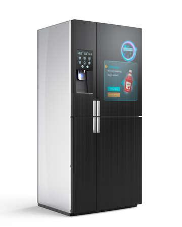 """concetto frigorifero intelligente. Lo schermo sulla porta la visualizzazione di informazioni di spinta, ad esempio """"no ketchup"""", l'utente può acquistare on-line pulsante è sufficiente toccare sulla porta. 3D rendering di immagini. Archivio Fotografico"""