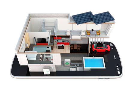 Energy-Efficient house equipped with solar panels, energy saving appliances on a smart phone.  automation home controlled by smartphone concept. 3D rendering image Standard-Bild