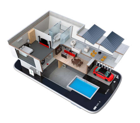 house illustration: Energy-Efficient house equipped with solar panels, energy saving appliances on a smart phone.  automation home controlled by smartphone concept. 3D rendering image Stock Photo