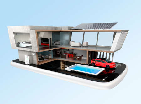 console table: Energy-Efficient house equipped with solar panels, energy saving appliances on a smart phone.  automation home controlled by smartphone concept. 3D rendering image Stock Photo