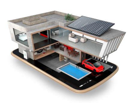casa inteligente en un teléfono inteligente. La casa inteligente equippd con paneles solares, aparatos de ahorro de energía y sistema de baterías de almacenamiento. Representación 3D de la imagen.
