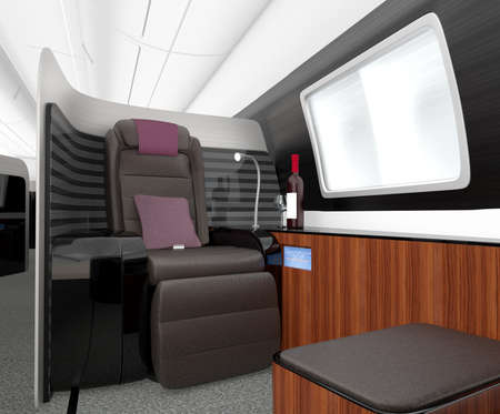 luxurious: Luxurious business class interior. 3D rendering image in original design.