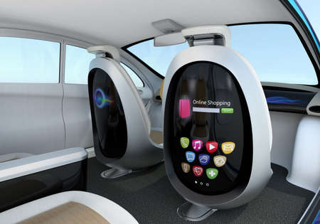 Autonomous car interior concept. Front seats equipped with monitors help Passengers enjoying internet while they travelling on the road. 版權商用圖片 - 56724634