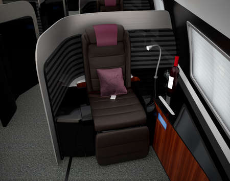 footrest: Luxurious business class interior. 3D rendering image in original design.