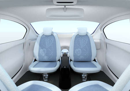 passengers: Self-driving car interior concept. The front seats could turned to rear side, help passengers talking face to face.  3D rendering image Stock Photo