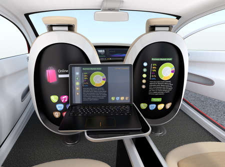 Autonomous car interior concept. Screen of the seat and laptop showing same document in sync mode. Concept for new business work style in future. 3D rendering image.