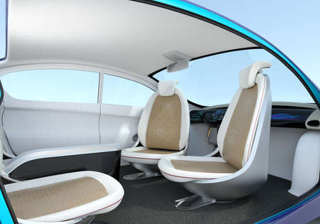navigating: Self-driving car interior concept. The front seats could turned to rear side, help passengers talking face to face.  3D rendering image Stock Photo