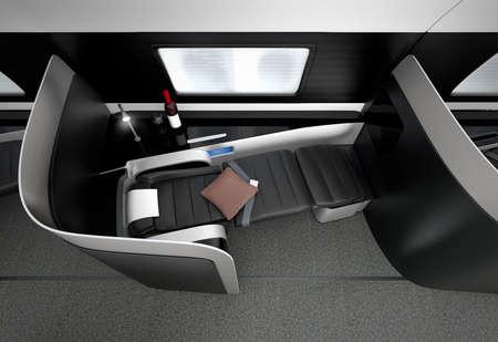 first plane: Luxurious business class interior. 3D rendering image in original design.